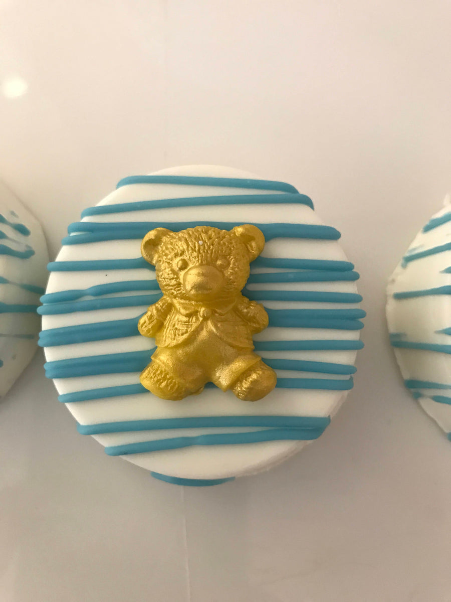 White and Blue Drizzled Chocolate Covered Oreos with Teddy Bear Chocolate