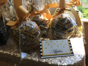 Gold Drizzled Chocolate Covered Apples
