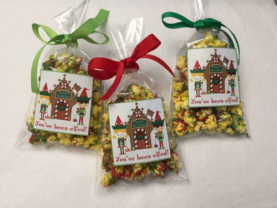 Red and Green Christmas Elf Santa Theme Personalized Party Favor Popcorn Bags