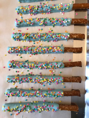 Light Baby Blue Dipped Chocolate Covered Pretzel Rod with Pastel Rainbow Sprinkles