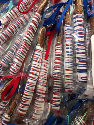 Red White and Blue Drizzled Fourth of July Independence Day Chocolate Covered Pretzel Rods