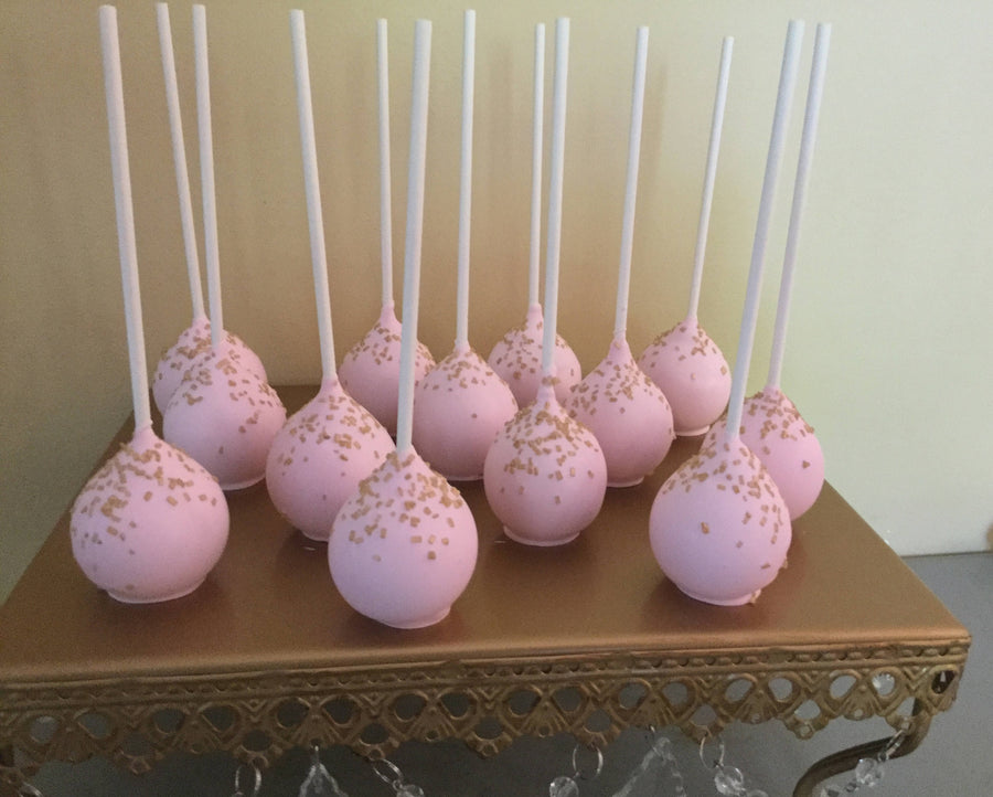 Pink Cake Pops with Gold Sparkle Sprinkles