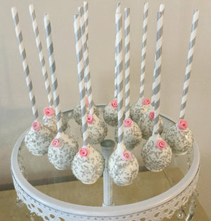 Silver Sprinkled White Cake Pops with Edible Pink Rose Flower