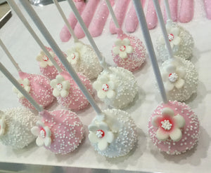 Pink and White Flower Cake Pops with Sprinkles