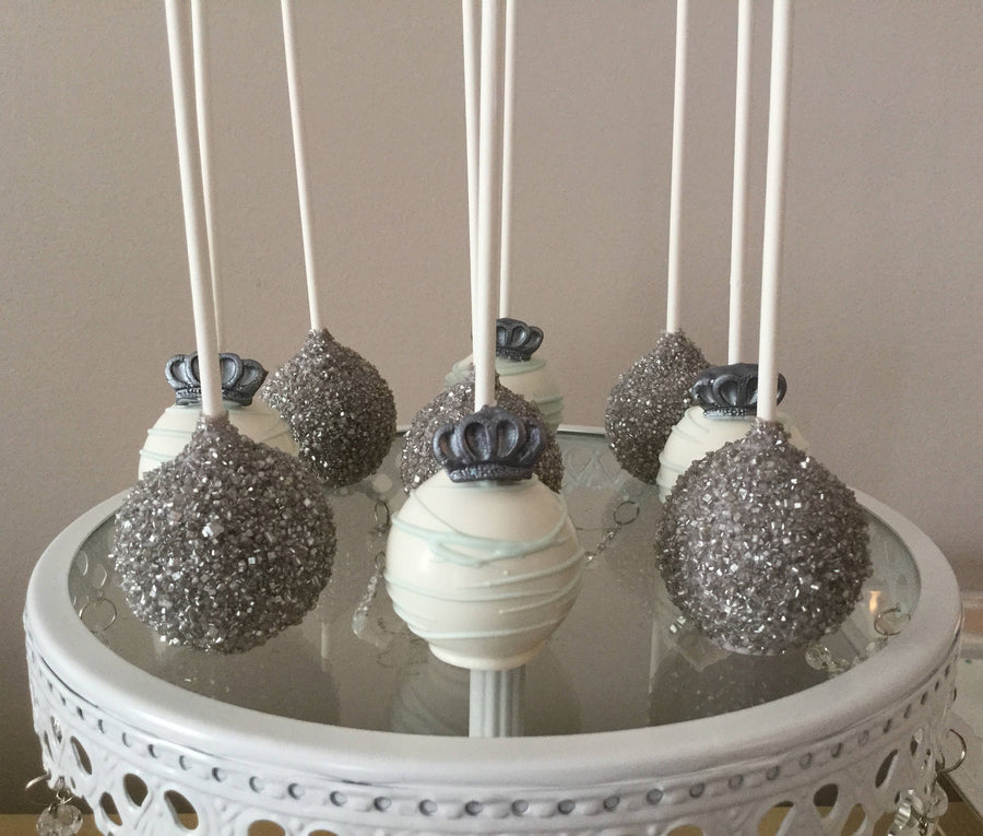 Silver and White Royal King Queen Cake Pops With Edible Crown | Prince or Princess Cake Pops