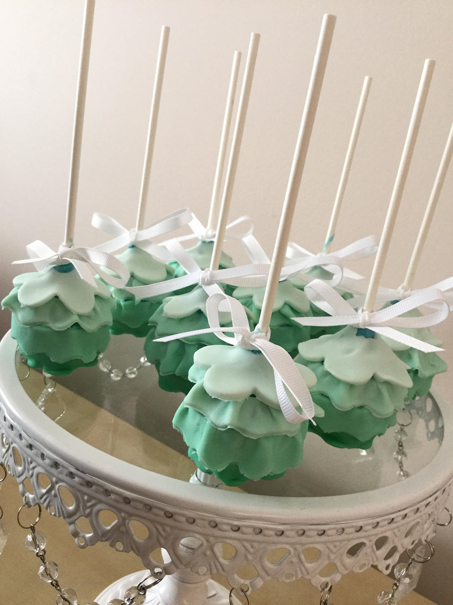 Green Ruffle Cake Pops | Green Mermaid Tale Cake Pops