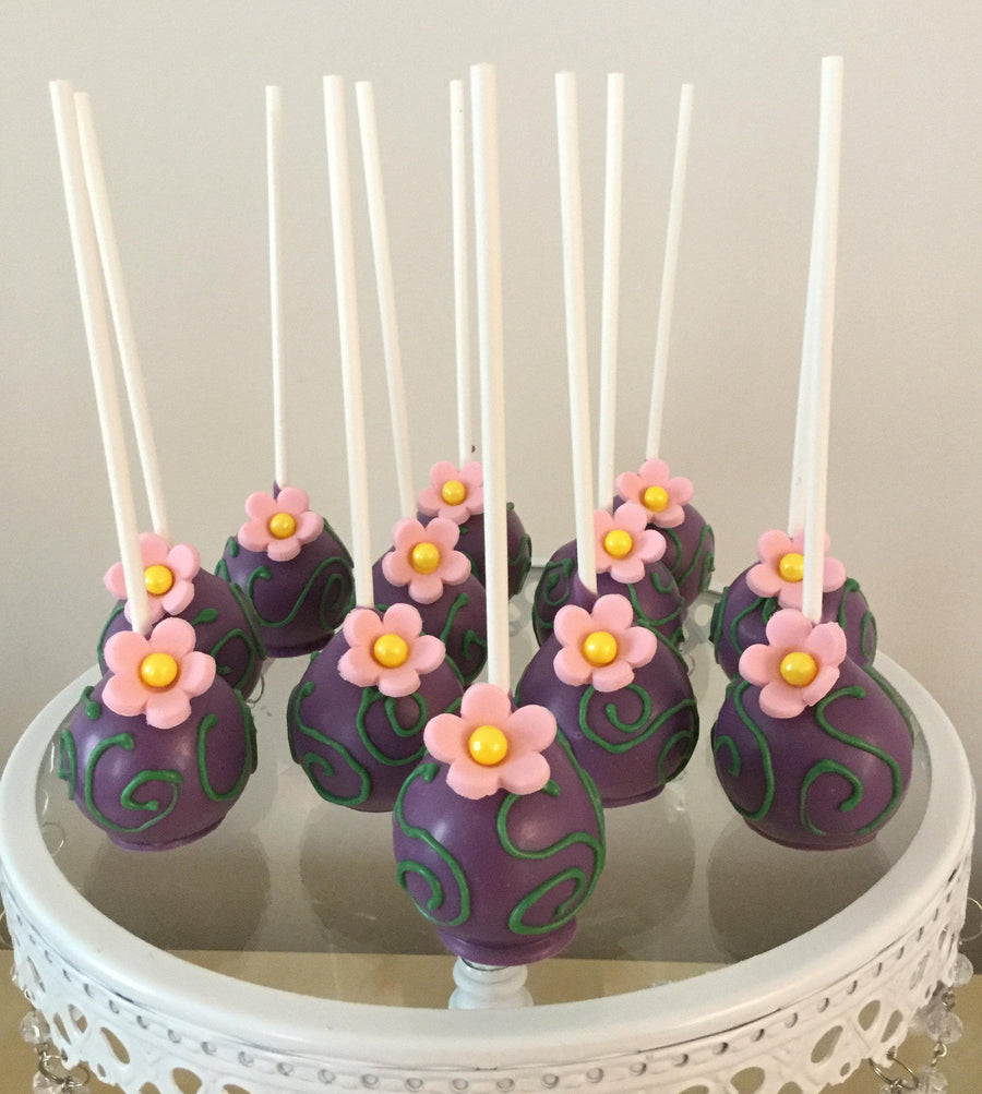 Purple Dipped Green Tangled Vine Drizzle Cake Pops with Pink Edible Flower