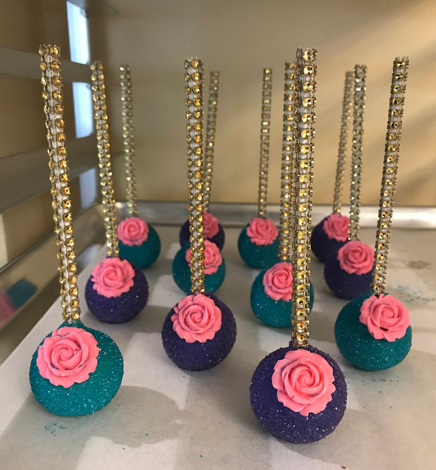 Purple and Teal Cake Pops with Edible Pink Rose On Bling Stick