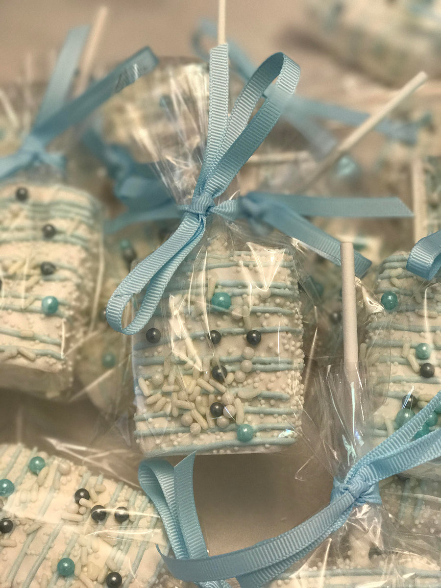 White Dipped Rice Krispies with Baby Blue Drizzle | White and Light Blue Color Scheme with Sprinkles and Sugar Pearls