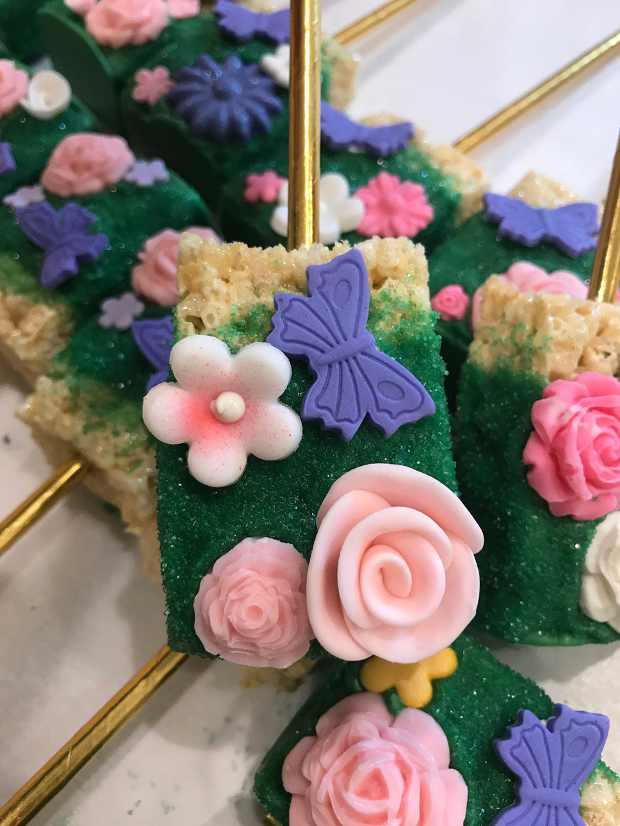 Garden Theme Rice Krispies with Edible Chocolate Flowers and Butterfly