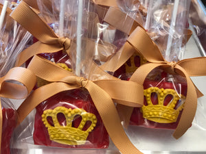 Red Royal Prince Theme Chocolate Covered Rice Krispie Treats with Edible Crown