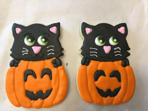 Black Cat Pumpkin Halloween Cookies