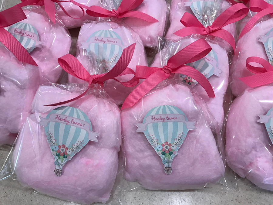 First Birthday Cotton Candy Party Favors with Custom Label