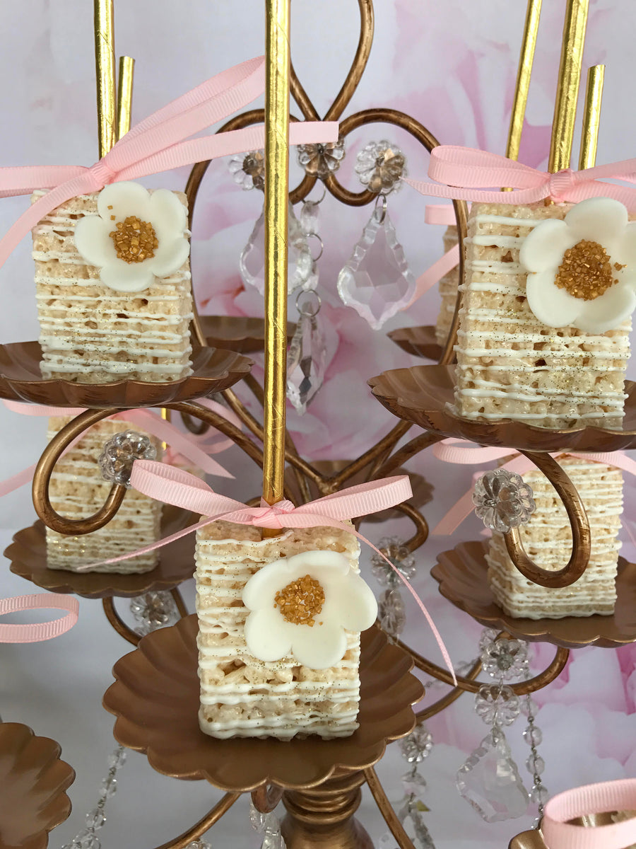 White Chocolate Drizzled Rice Krispie with Edible White Flower with Gold Sprinkle Center
