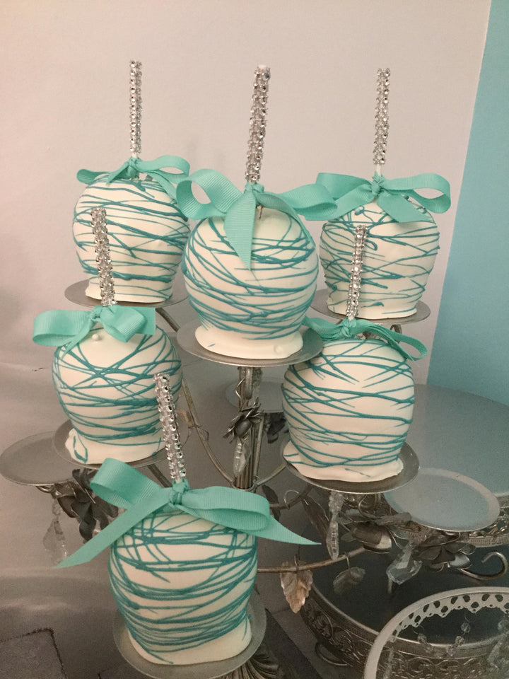 Teal and White Drizzled Chocolate Covered Apples