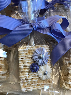 Shades of Blue Chocolate Covered Rice Krispie Treats with Edible Flowers