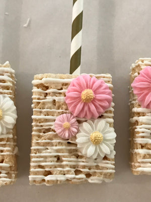 Shades of Pink White Chocolate Drizzled Rice Krispie Treats with Edible Flowers