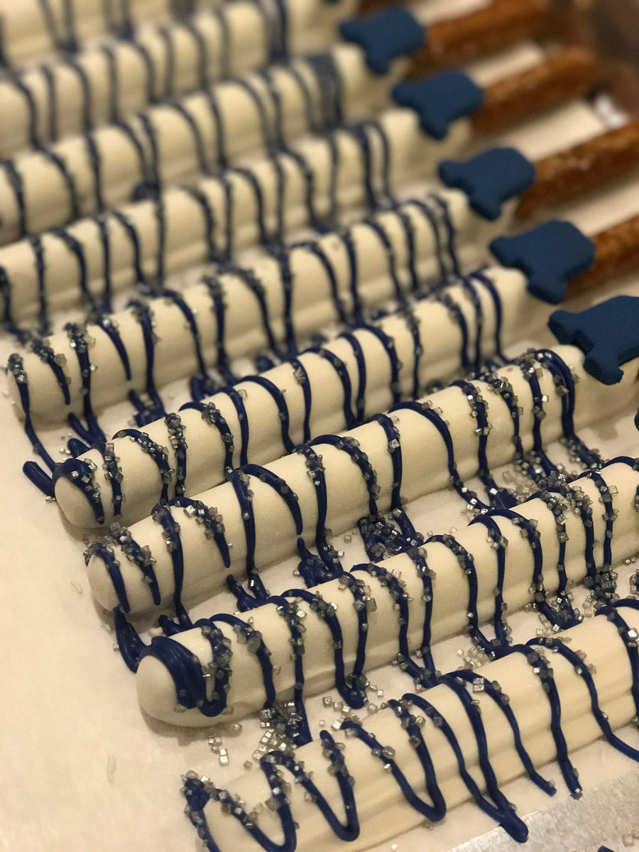 Navy Blue and Silver Drizzle Chocolate Covered Pretzels with Edible Onesie, Baby Boy Shower
