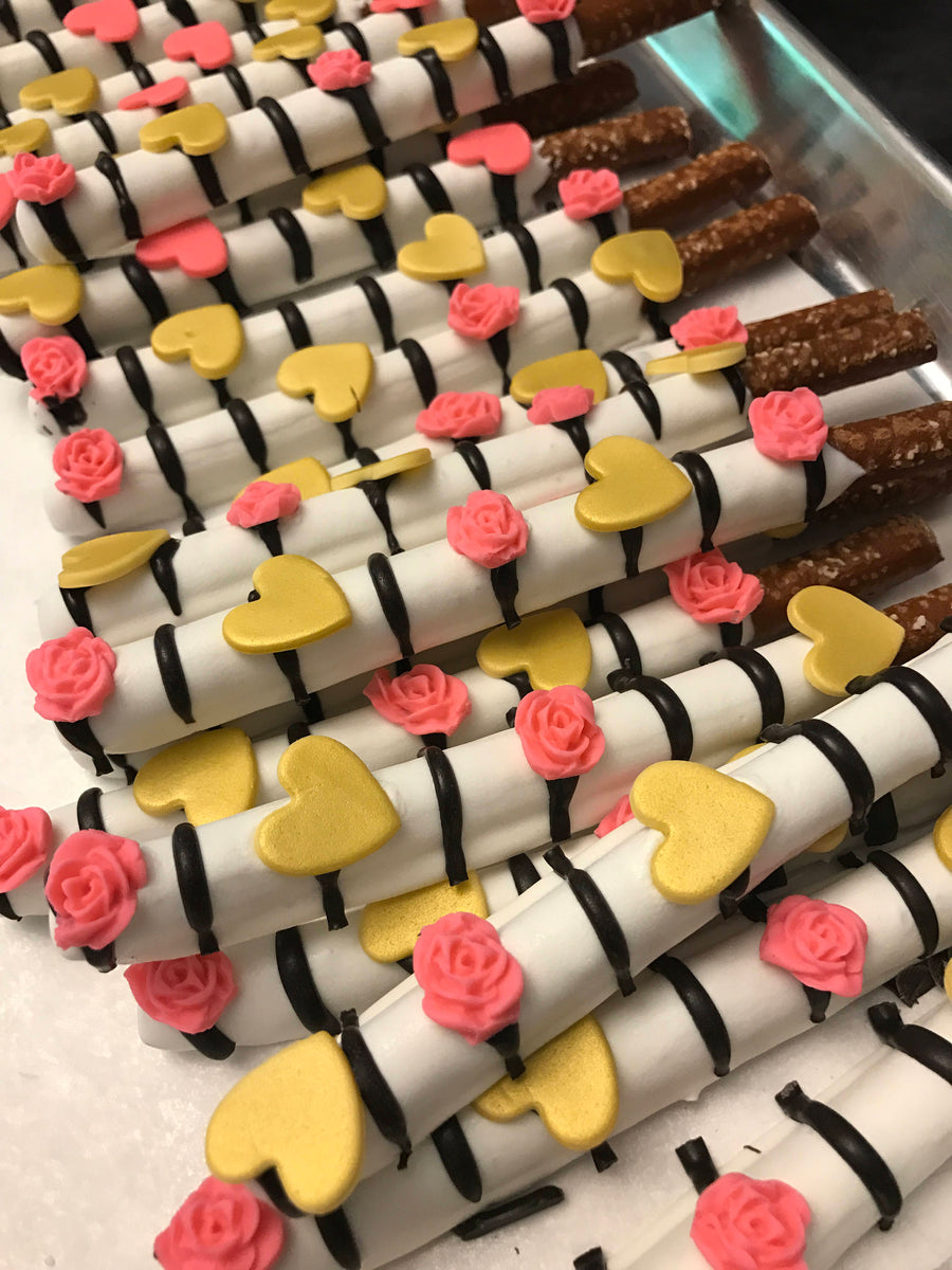 White Chocolate Dipped Pretzel Rod with Edible Hearts and Roses