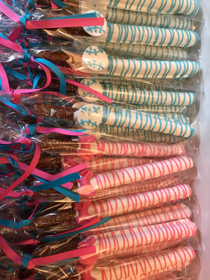 Bows or Baseball Gender Reveal Chocolate Covered Pretzels Rods