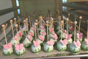 Garden Theme Cake Pops with Grass Decoration and Edible Butterfly