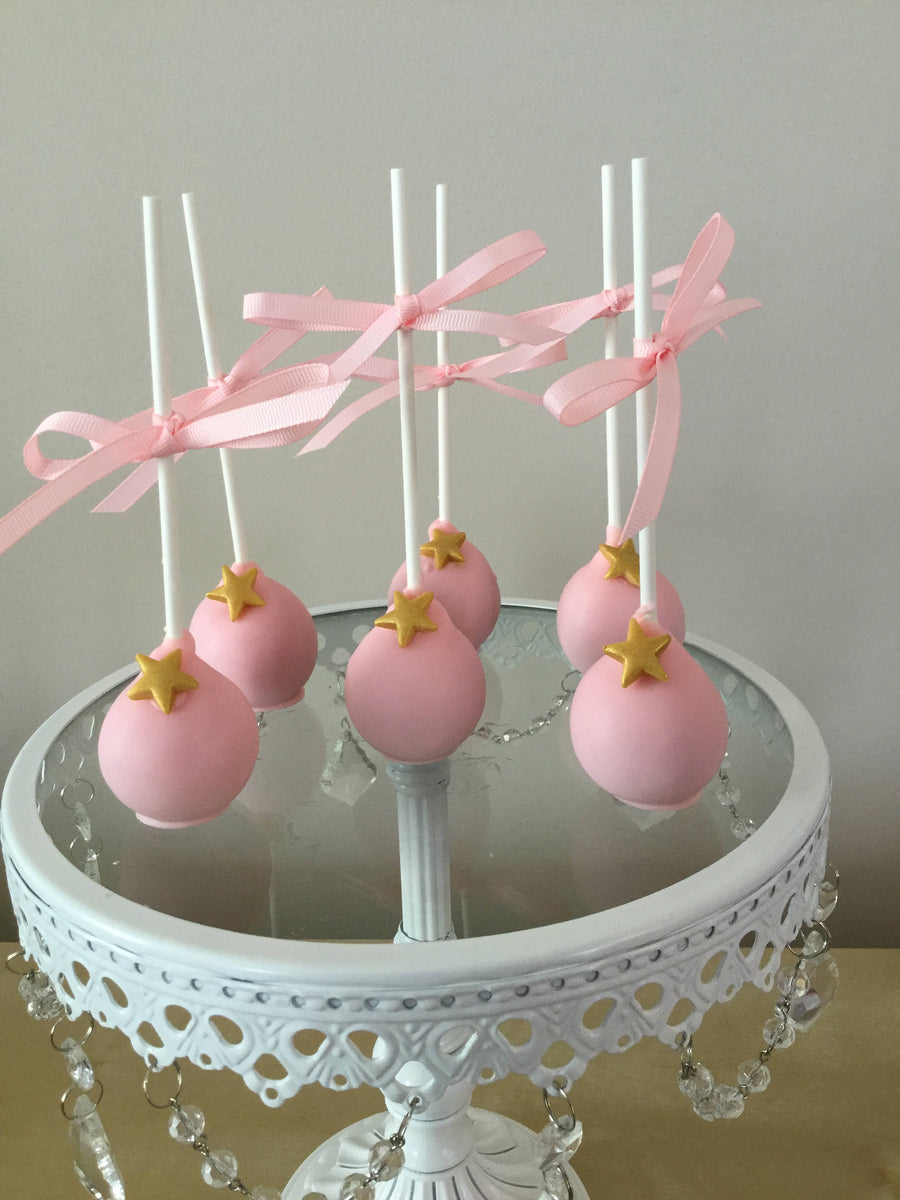 Light Baby Pink Dipped Cake Pops with Gold Edible Star