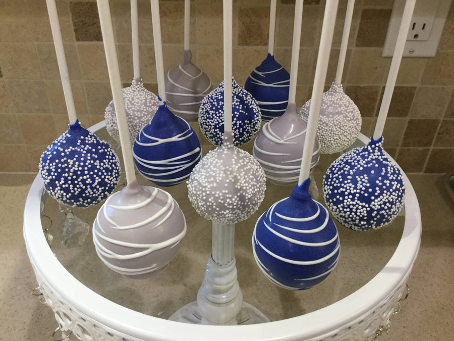 Royal Blue White and Silver Drizzled and Sprinkled Cake Pops | Dark Blue Designed Cake Pops