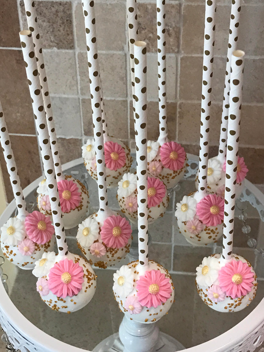 White Dipped Cake Pops with Edible Pink and White Flowers and Gold Sprinkles