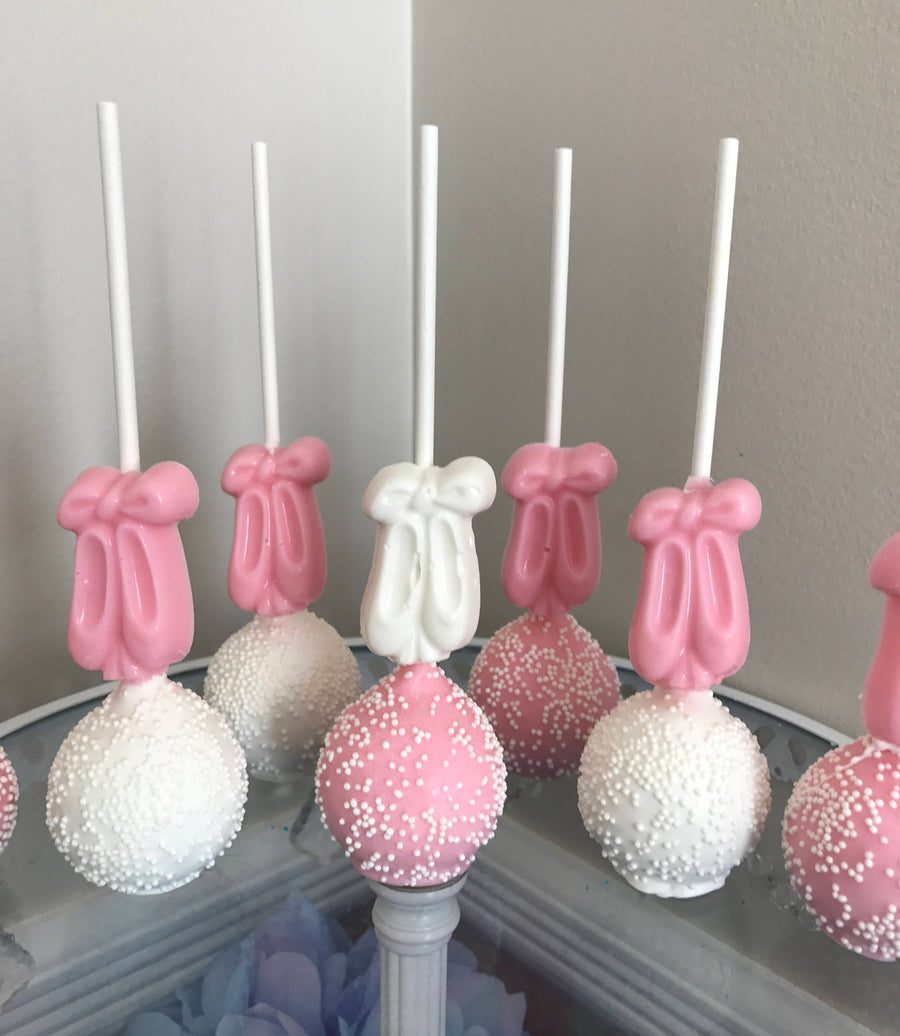 Pink and White Cake Pops with Chocolate Ballerina Slippers