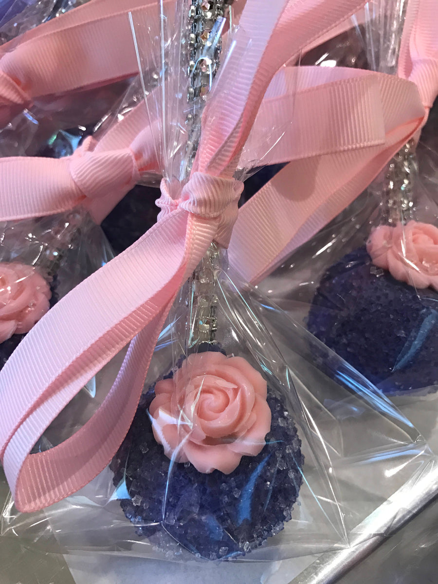 Pink and Purple Sparkling Sprinkle Cake Pops with Edible Rose on Bling Stick