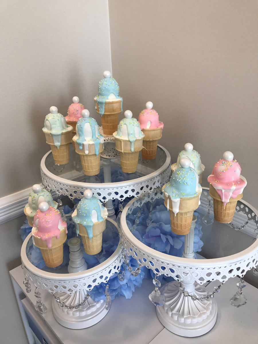 Pastel Color Ice Cream Cone Cake Pops With Sprinkles