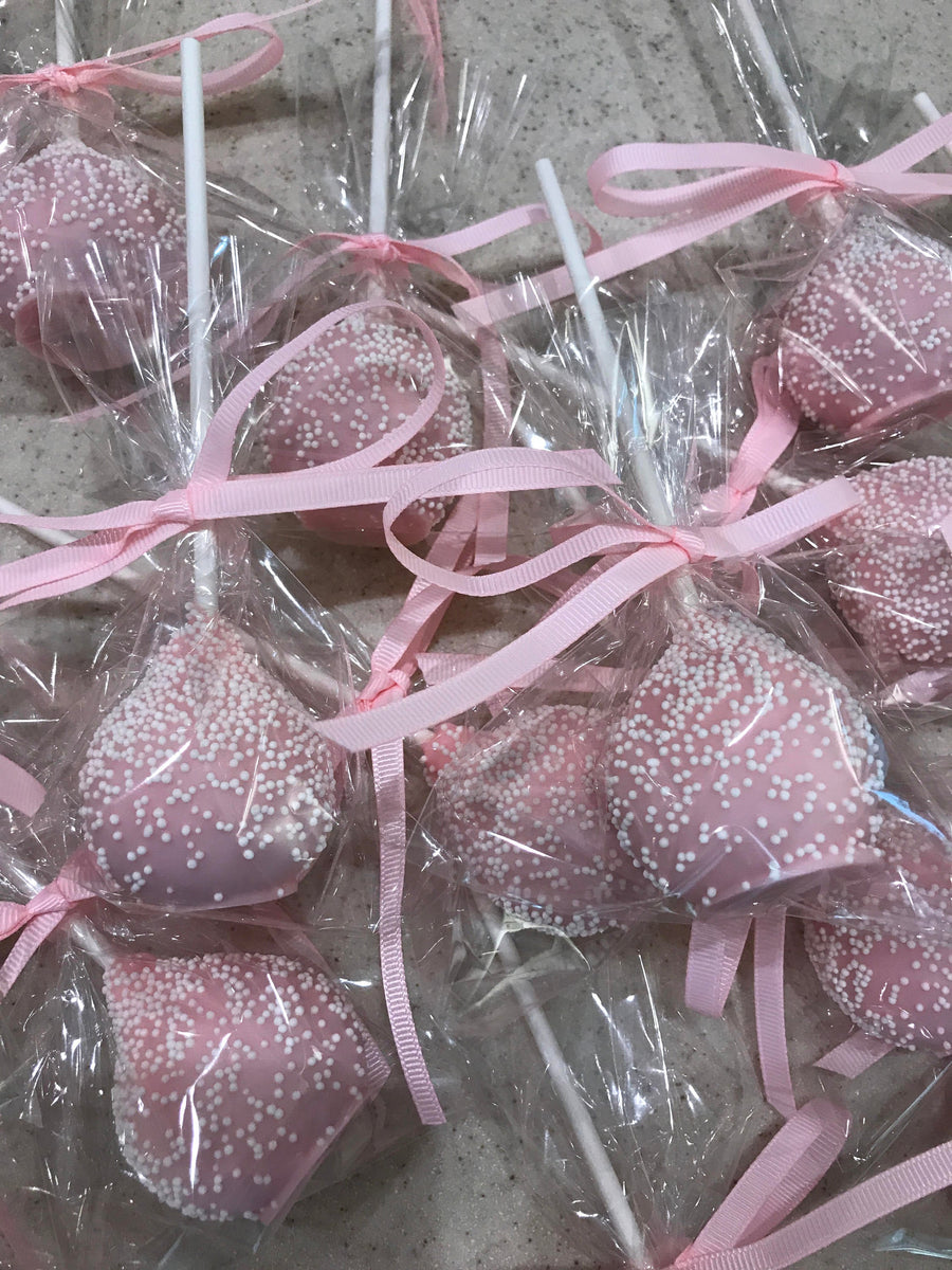 Light Baby Pink Dipped Cake Pops with White Sprinkles
