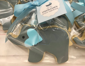 Baby Blue Elephant Cookie with Colored Heart Shaped Ear