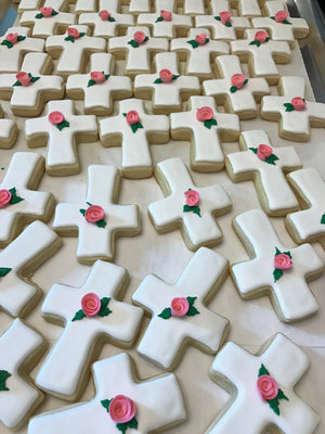 Simple White Cross Cookies with Edible Pink Rose Flower