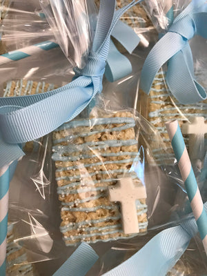 Baby Blue Chocolate Drizzled Rice Krispie Treat with Edible Cross