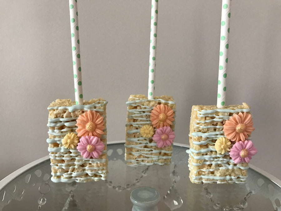 Light Blue Drizzled Rice Krispies with Colorful Pastel Flowers