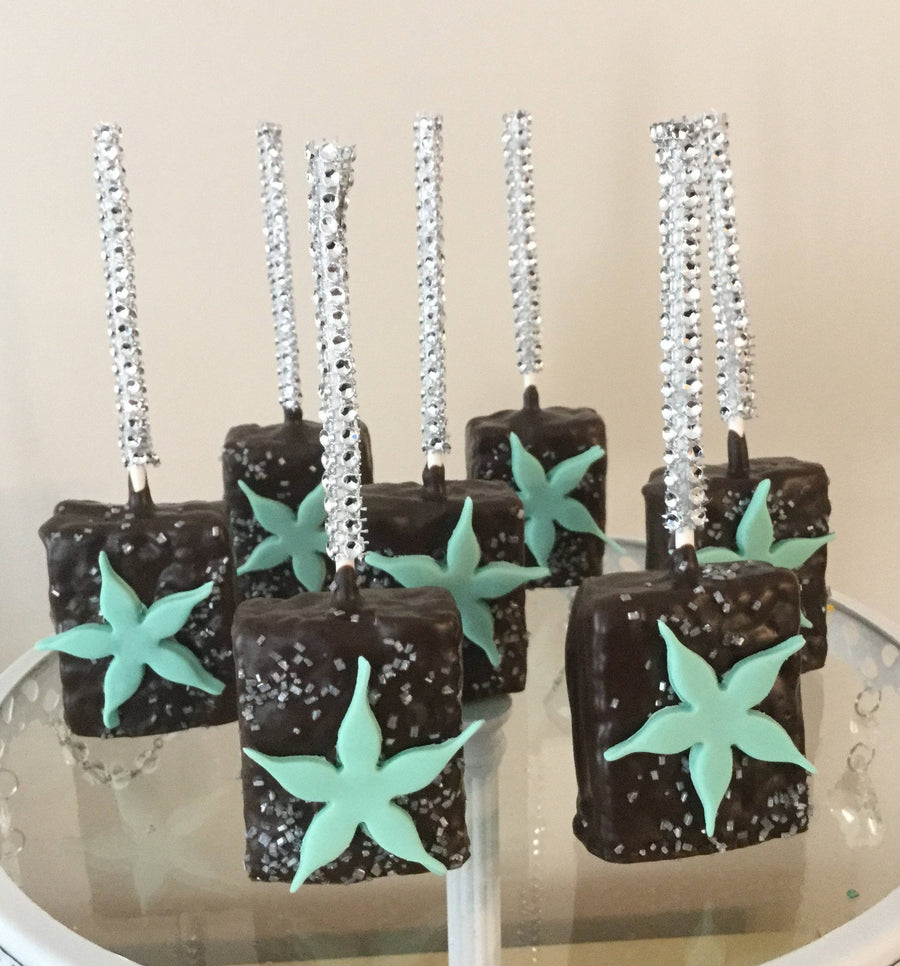 Chocolate Dipped Rice Krispie with Light Blue Starfish Flower on Bling Stick