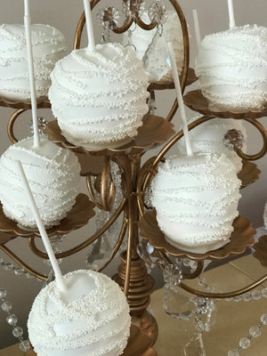 White Wedding Chocolate Covered Apple with White Sprinkle Drizzle