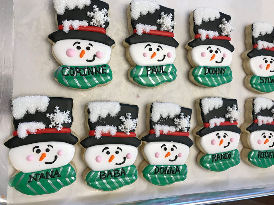 Snowman Sugar Cookies | Personalized Cookies | Holiday Cookies