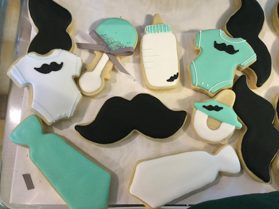 Mustache and Tie Sugar Cookies | Baby Boy Shower Cookie Assortment