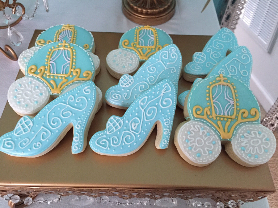 Glass Slipper and Carriage Cookie Assortment | Princess Theme | Light Baby Blue Cookies