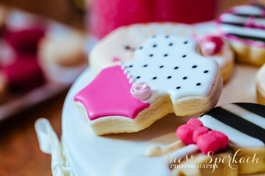 Pink Black and White Baby Shower Cookie Assortment