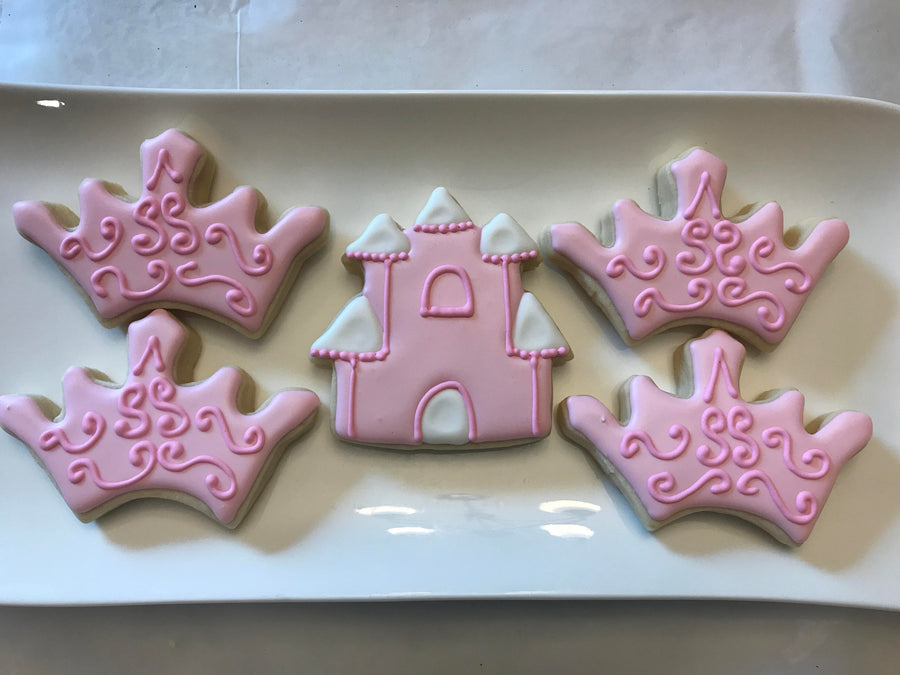 Princess Cookie Assortment | Baby Pink Castle and Crown Cookies