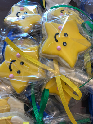 School Theme Sugar Cookies | Pencil Crayon Notepaper Ruler Gold Star Cookies