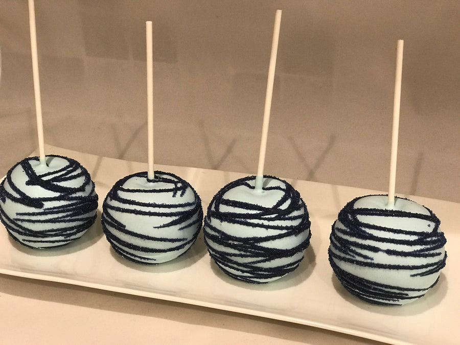 Light Blue Chocolate Covered Apples With Navy Blue Sparkle Drizzle