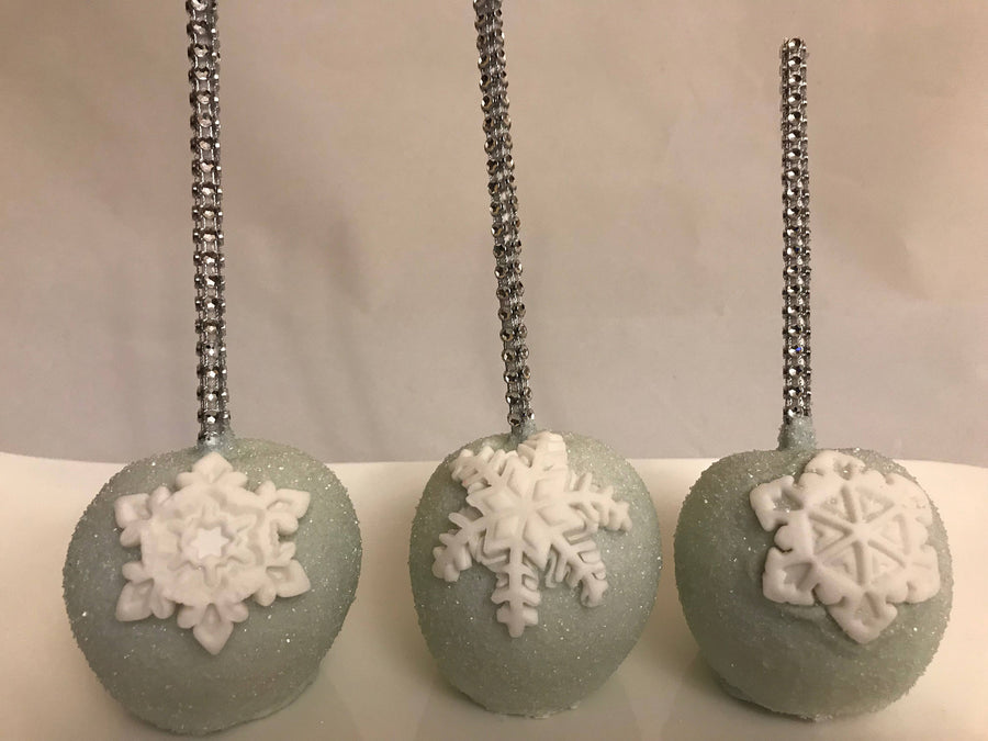 Snowflake Chocolate Covered Apples on Bling Stick