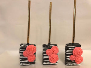 Black and White Drizzle Rice Krispie Treats with Edible Pink Roses