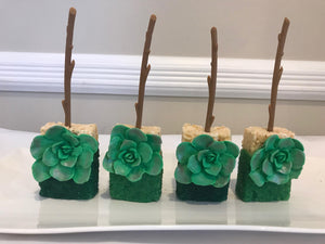 Green Sprinkle Rice Krispie Treats with Green Flower on Twig Stick | Forest Theme Rice Krispies