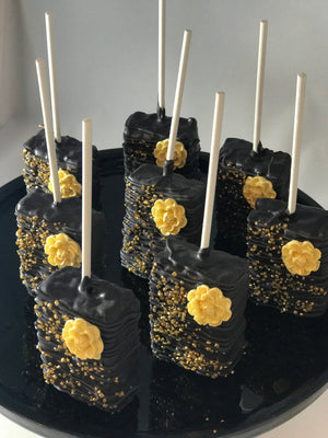 Black and Gold Rice Krispie Treats with Edible Flower