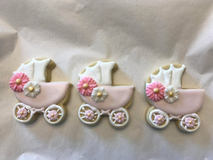 Baby Carriage Cookies with Pink and White Flowers | Baby Girl Shower Cookies